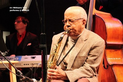 Saxophonist Irv Williams, 93, kicked off the BMA anniversary event.