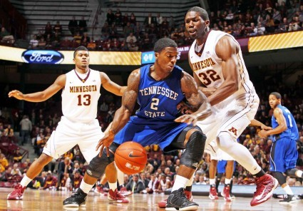 Trevor Mbakwe, #32 at right, is back in action after ACL surgery. Photo courtesy of U of M