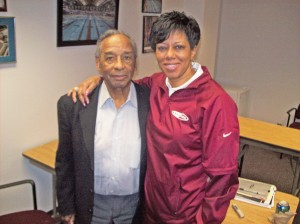 Jim Robinson with Lisa Lissimore, associate director of the Minnesota State High School League MSR file photo