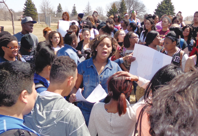 Maray Singleton co-organized the Hopkins student protest. Photos by Charles Hallman