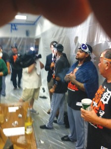 After beating the Twins 1-0, Tigers celebrate  at Target Field.  Photo courtesy of Larry-Fitzgerald.com