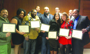 Members of the YCB recognized for their work: (l-r) James Everett, Jernell McLane, Byron Hawkins, Johnell Hallman, Terrall Lewis, (front row) Sarah Klouda, Tameika Williams, Evan Barnett, (back row) Wendell Johnson and Darryl Young