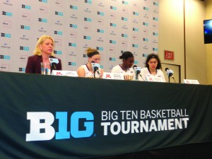 Addressing the media at the Big Ten quarterfinals were (l-r) Gophers Coach Pam Borton and players Rachel Banham, Stabresa McDaniel and Amanda Zahui B.            Photo by Charles Hallman