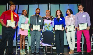 Scholarship winners (l-r) Evan Beto, Kayla Wright, Tour'e Walter Gates, MSR Publisher and CEO Tracey Williams-Dillard, Cara Claflin, Devyn Smith and Mohamed Malim. Photo by Travis Lee