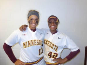 University of Minnesota softball teammates (l-r) Madie Eckstrom and Tyler Walker Photo by Charles Hallman