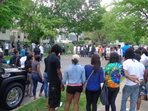 Approximately 100 people gathered for a vigil outside the home of Nehemiah Steverson.