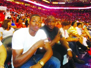"Roosevelt Scott of St. Paul, left, enjoyed his first-ever WNBA game with friend D'Marr Suggs, who now lives in the Phoenix area. See Scott's profile in this week's ""Prep Scene."""