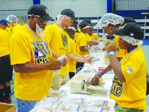 RBI players prepared thousands of meal packages as a community service project at Concordia University in St. Paul.