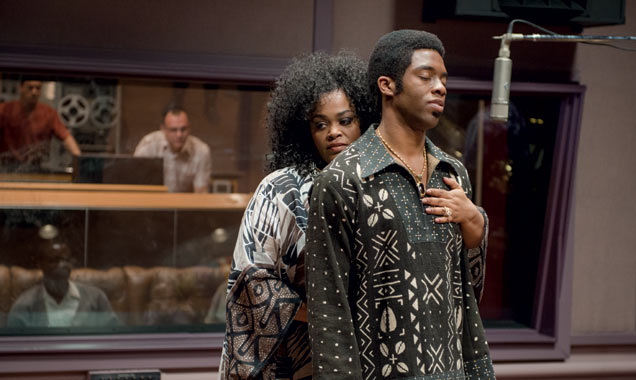 Jill Scott and Chadwick Boseman in a scene from Get on Up
