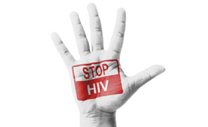 Open hand raised, Stop HIV sign painted, multi purpose concept -