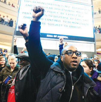 Black Lives Matter protesters at the Mall  of America