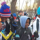 (l-r) Sherman P., Li'Tavius M., Phillip G. and Kemari W. prepare to start the Peace Coffee Pre-Loppet on Sunday, January 11. The young athletes compete on the Loppet Foundation's middle school ski and bike team at Nellie Stone Johnson Community School.
