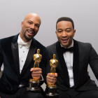 "Lonnie Lynn (Common) and John Stephens (John Legend) pose backstage with the Oscar® for Achievement in music written for motion pictures (Original song) for work in ""Selma.""  Todd Wawrychuk /©A.M.P.A.S."