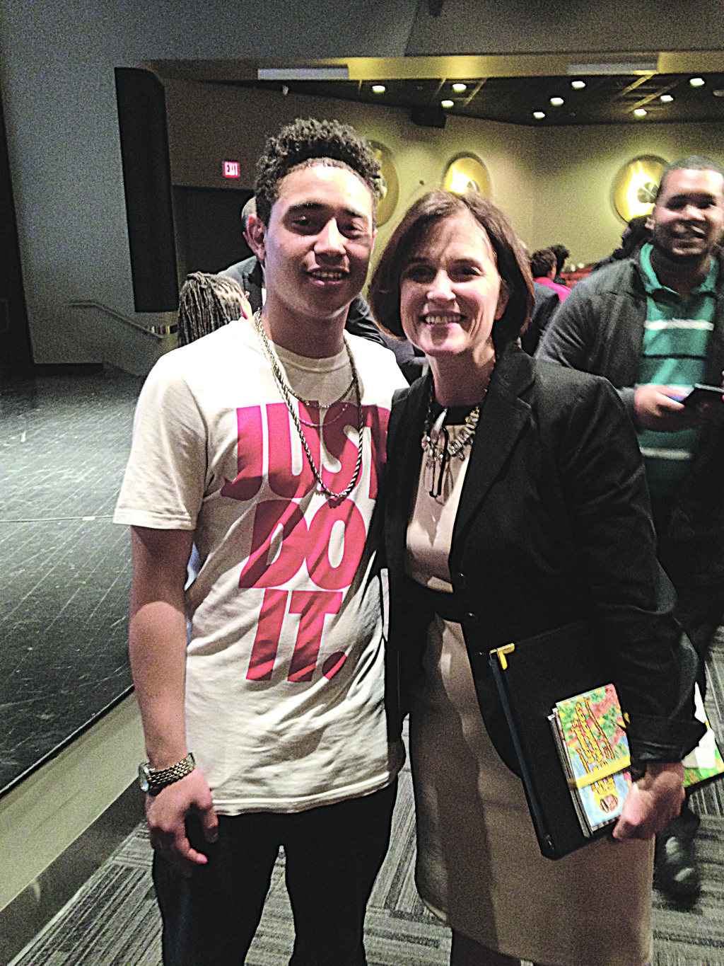Mayor Betsy Hodges, right, with an unidentified participant in the U of M event