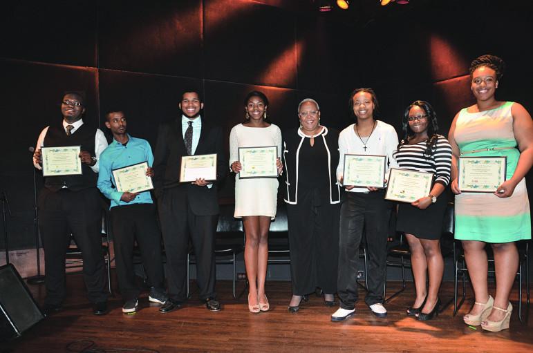 2015 Cecil E. Newman Scholarship winners (l-r): Jonathan Mensah, Abda Nebi, Noah Brown, Renae Jackson, Tracey Williams-Dillard (MSR CEO/Publisher) Kiera Hunter-Tabb, Edwina King, Jaelynn Palmer
