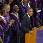 President Barack Obama delivers the eulogy at the funeral of Reverend Clementa Pinckney at the College of Charleston in Charleston, S.C., June 26, 2015.