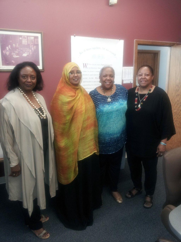 (l-r): Judge LaJune Lange, Sophia Abdi Noor, Tracey Williams-Dillard,