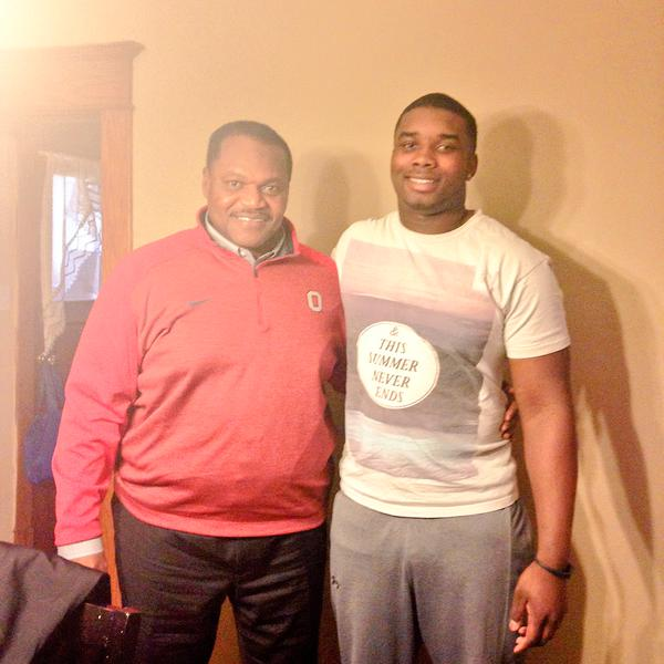 Jashon Cornell, right, with his defensive line coach Larry Johnson Photo via Twitter.com