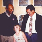 Larry Doby (l) with Mike Veeck and Veeck's daughter Rebecca
