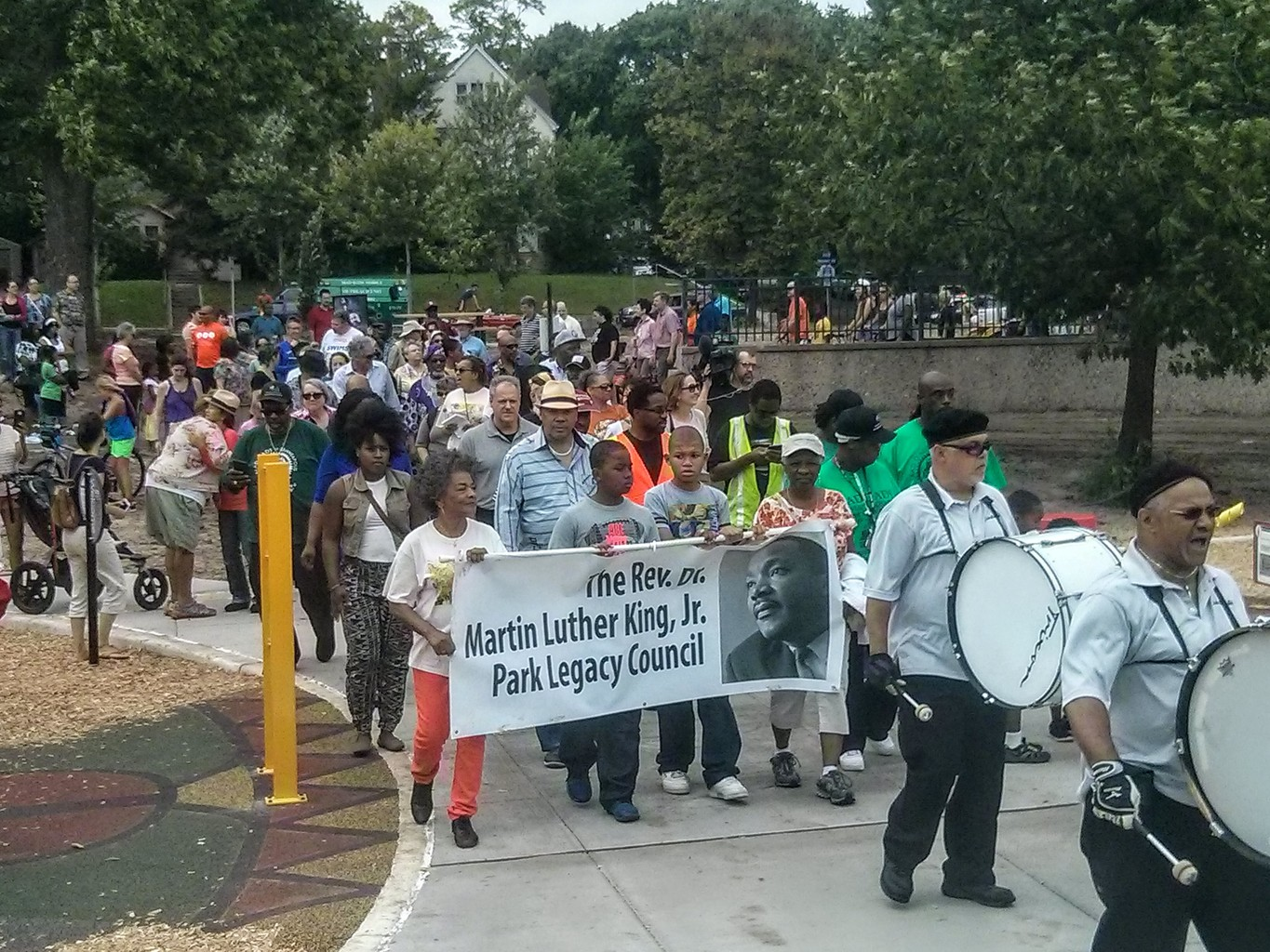 Marchers entering the park for the dedication.