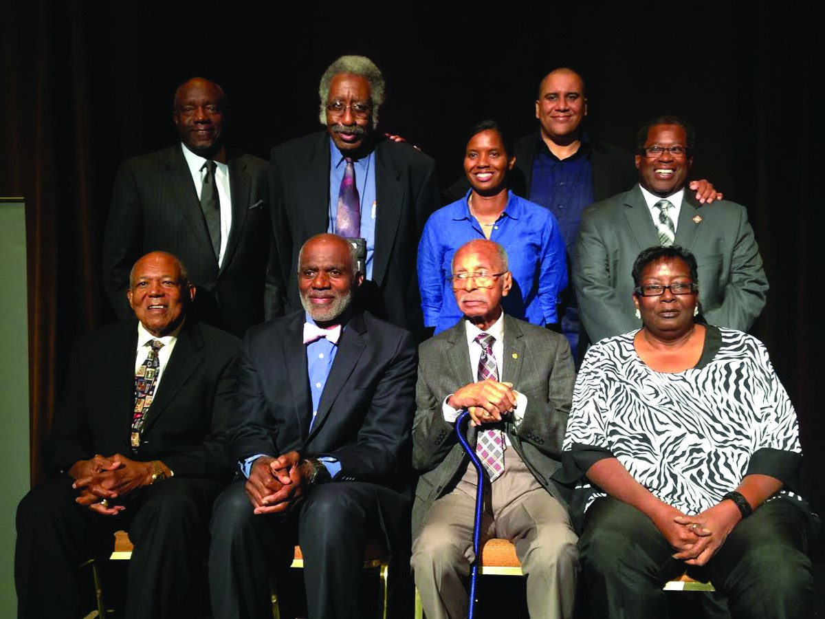 2015 NABJ Sam Lacy Sports Pioneer Award winners: Front row (l-r) Tony Oliva, Alan Page, Bill McMoore, Linda Roberts Back row (l-r) Jim Colon (Toyota executive), Charles Hallman, Briana Scurry, Marc Spears (NABJ Sports Task Force president, LaVelle E. Neal, III