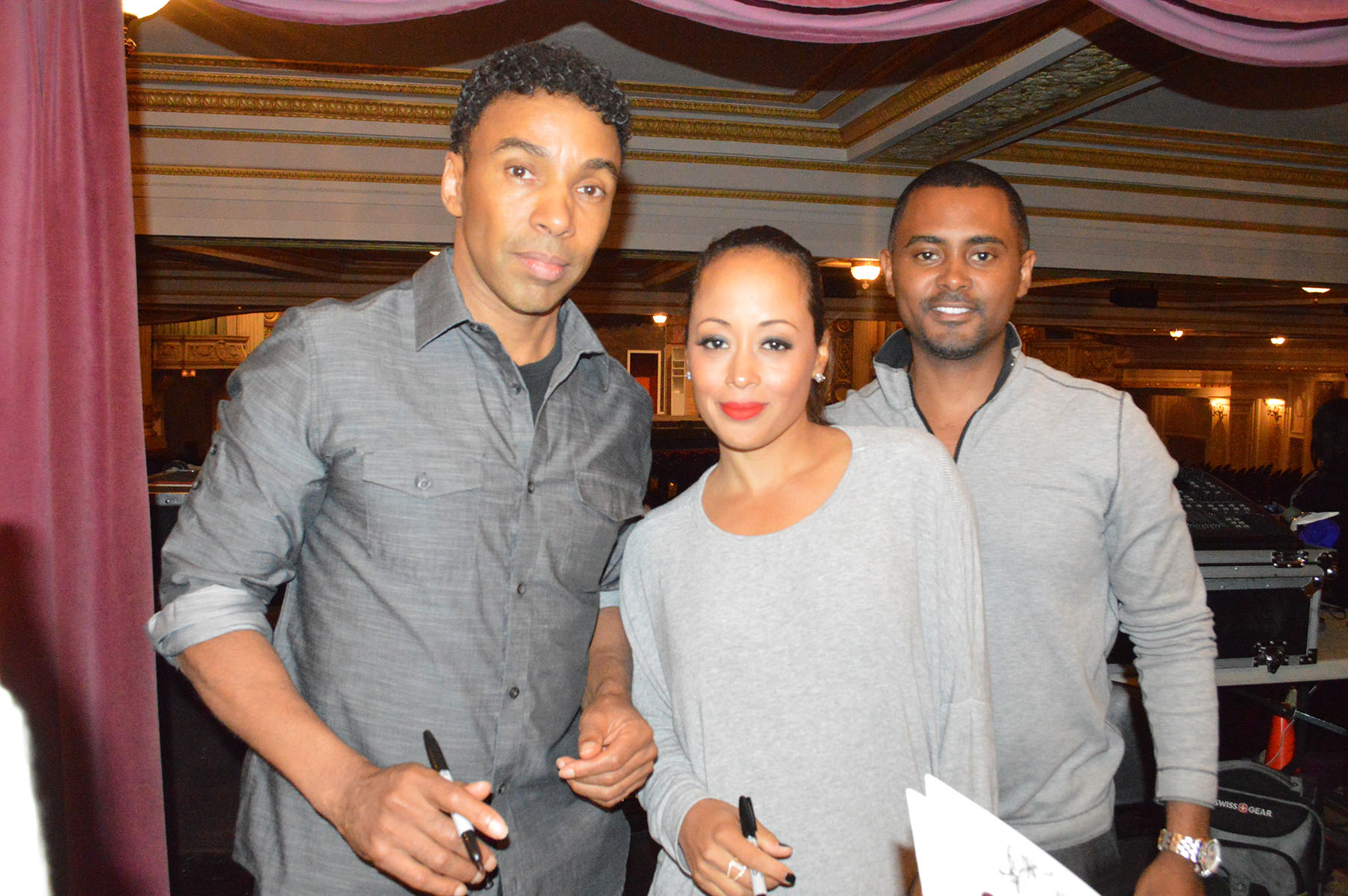 "Actor Allen Payne and Actress Essence Atkins with Producer Je'Caryous Johnson after preforming ""Things Your Man Won't Do!"""