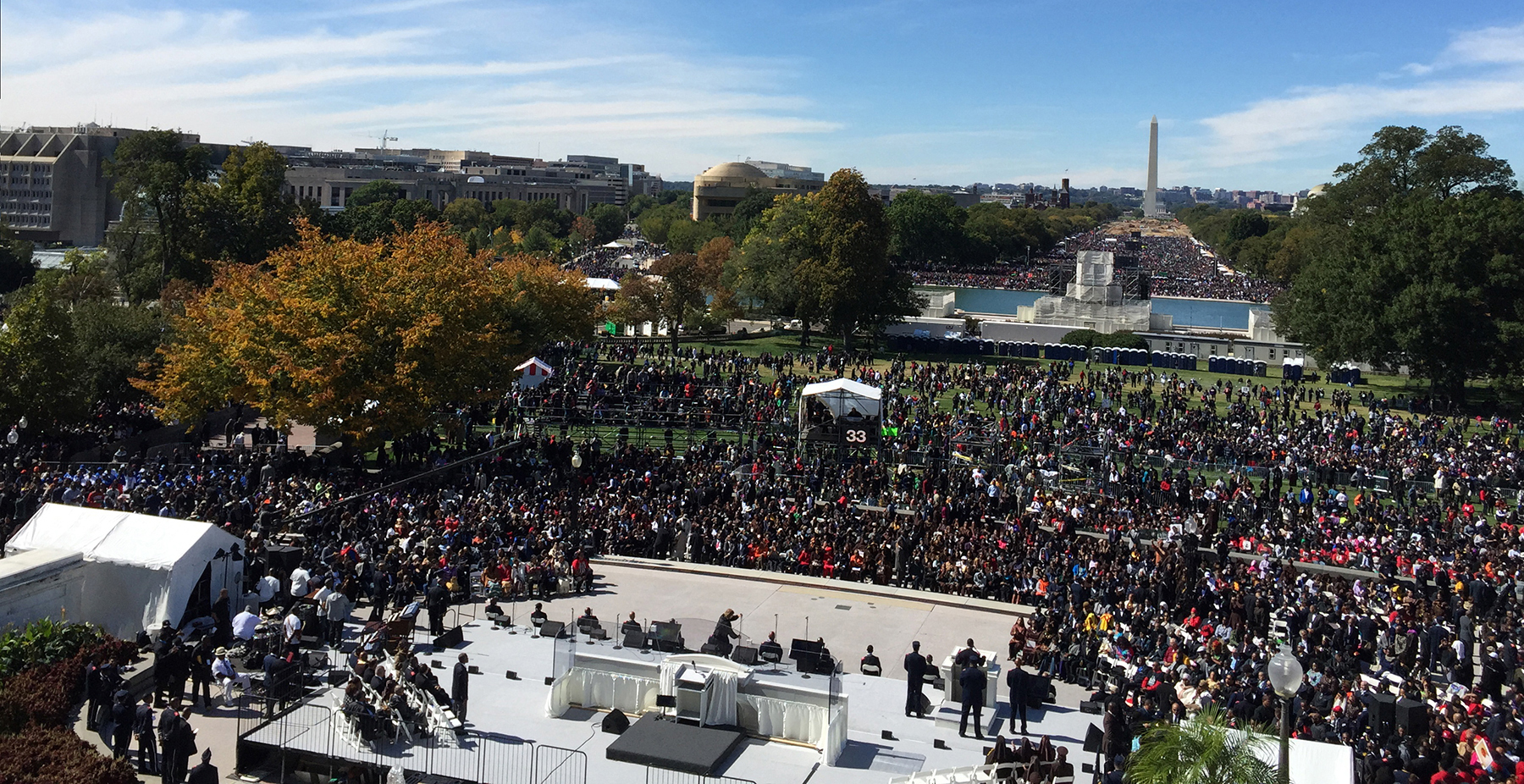 Thousands gathered to celebrate the 20th anniversary of the Million Man March on the National Mall in Washington, D.C.