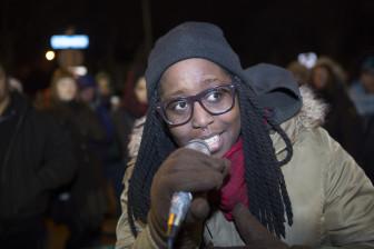 BLM Mpls' Adja Gildersleve, on the mic at a #Justice4Jamar candleight vigil, November 20.