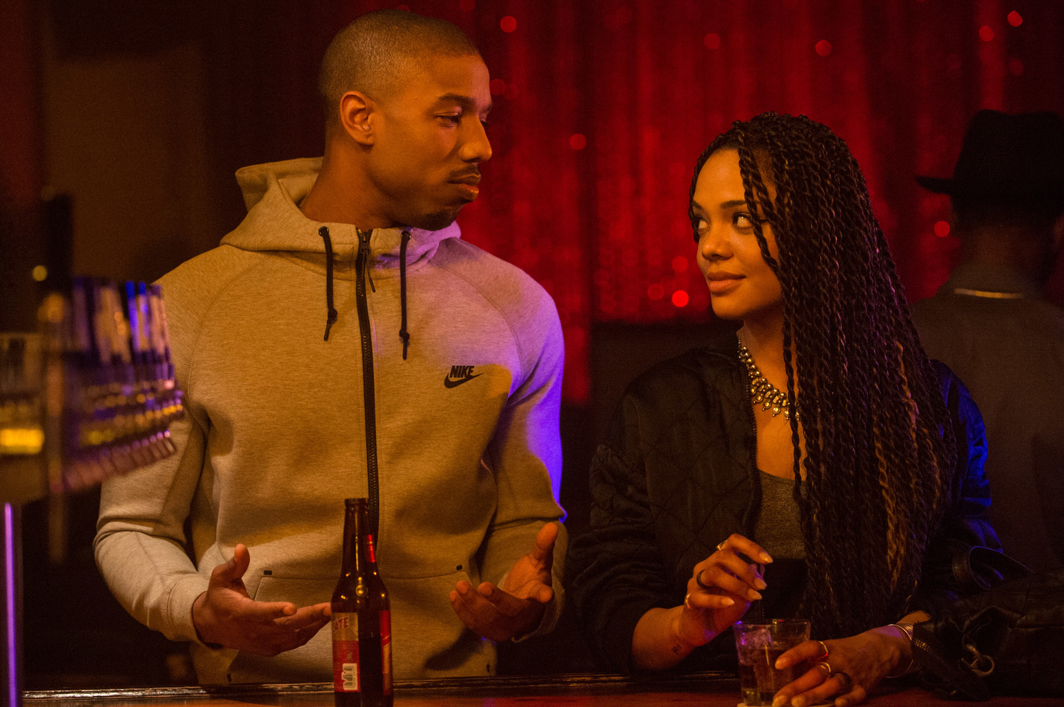 (L-r) Michael B. Jordan as Adonis Johnson and Tessa Thompson as Bianca in Metro-Goldwyn-Mayer Pictures', Warner Bros. Pictures' and New Line Cinema's drama Creed, a Warner Bros. Pictures release.