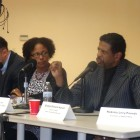 Panel members included Maria Reeve (l) and Bishop Richard Howell (crop out man at far left)