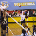 JSU's Jasmine Knight going for a spike.