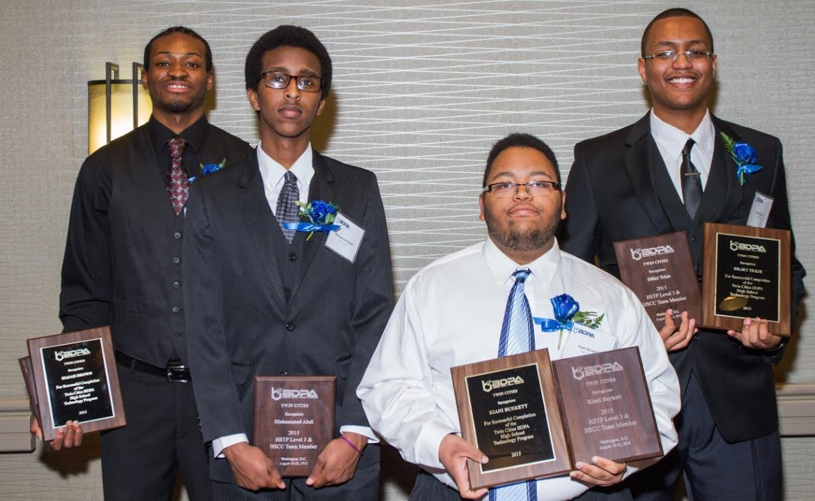 2015 HSTP graduates (l-r) Isaiah Brown, Mohammed Abdi, Kiani DeJuan Burkett, Diliet Tekie, and Jesus Vega (not pictured)