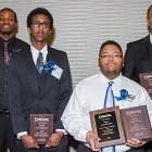 2015 HSTP graduates (l-r) Isaiah Brown, Mohammed Abdi, Kiani DeJuan Burkett, Diliet Tekie, and Jesus Vega (not pictured)