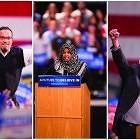 (l-r): Congressman Keith Ellison, Farhiya Ali and Sen Bernie Sanders