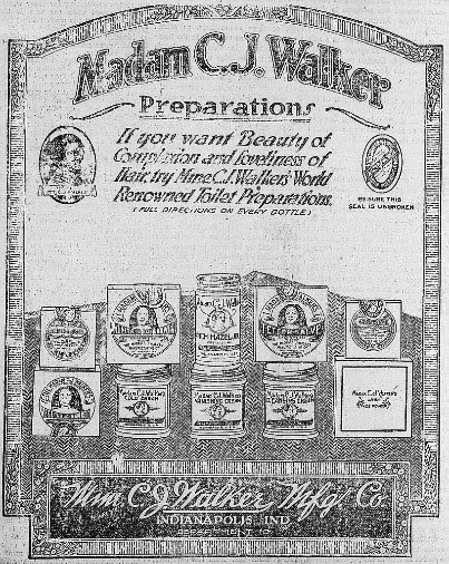 Advertisement showing images of cold cream and hair and complexion products manufactured by Madam C.J. Walker.