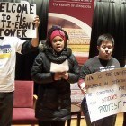 """U of M students protest during an """"Is there a right way to protest?"""" discussion."""
