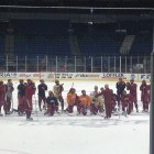 Denver practicing on the ice