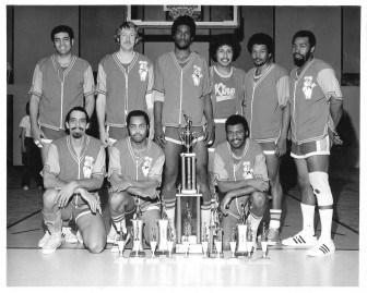 The Pillsbury Kings: (front row l-r) Leroy Gardner, Dick Kelly, Al Nuness; (back row l-r) Al White, Tim Argabright, Mel Coleman, Frank White, Arvesta Kelly, Alex Rowell