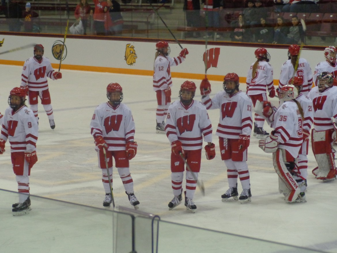 University of Wisconsin Badgers — junior forward Sarah Nurse (No. 16) is at front center.