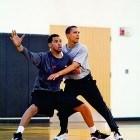 President Barack Obama plays basketball at Fort McNair on May 9, 2009.