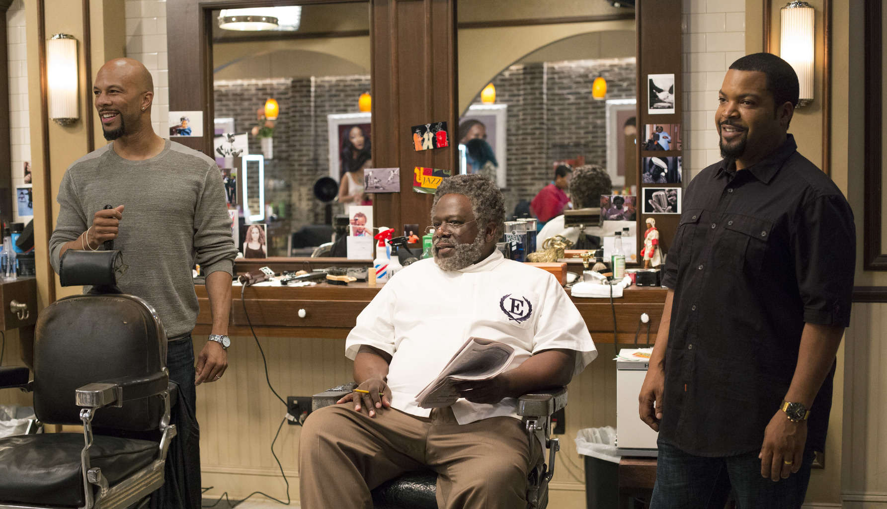 "Common as Rashad, Cedric the Entertainer as Eddie and Ice Cube as Calvin in Metro-Goldwyn-Mayer Pictures' and New Line Cinema's comedy Barbershop: The Next Cut, a Warner Bros. Pictures release, "" a Warner Bros. Pictures release."