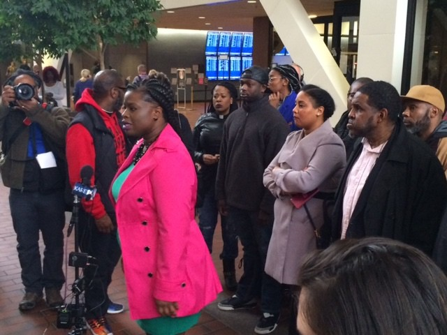 Protesters speak out against County Attorney Mike Freemans decision not to charge Mpls. police in the death of Jamar Clark