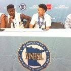 (l-r) O'Dell Wilson IV, Tyler Johnson, Jamil Jackson Jr. and Head Coach Larry McKenzie at a press conference following their 68-45 victory over Goodhue to capture the Class A state title last month