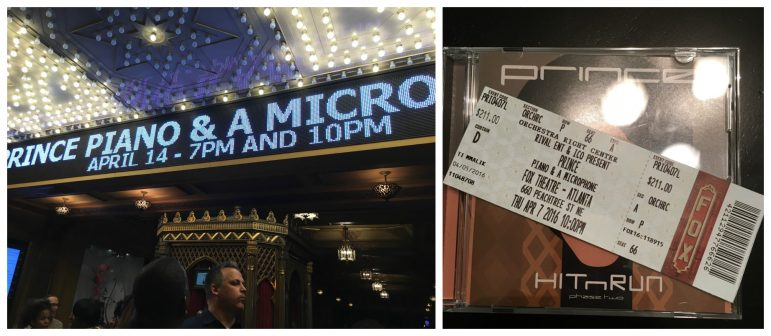 (Left): Marquee sign outside of the cocernt. (Right):Tickets for the April 7 show were good for the rescheduled April 14 show