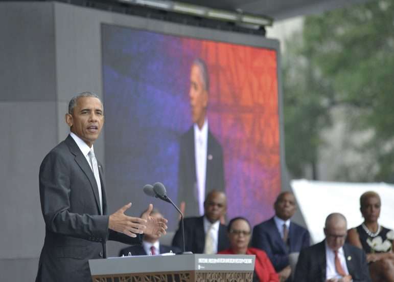 President Barack Obama speaks during the grand opening ceremony of the National Museum of African American History and Culture (NMAAHC) in Washington, D.C. The NMAAHC is the first Smithsonian museum focused on Black History on the National Mall.