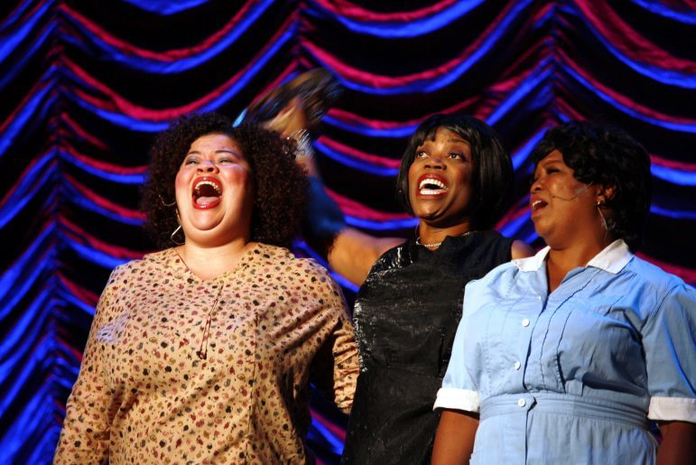 Pictured left to right: Thomasina Petrus, Regina Marie-Williams and Aimee K. Bryant on stage at the Ivey's performing a song from their theater production, 'Nina Simone: Four Women.'