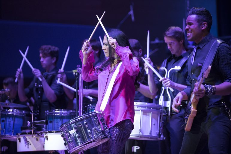 Sheila E. led a group of drummers on stage to open the show