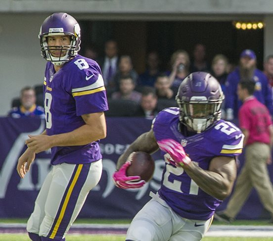 Sam Bradford hands off to Jerick McKinnon during the game against the Houston Texans, October 9.