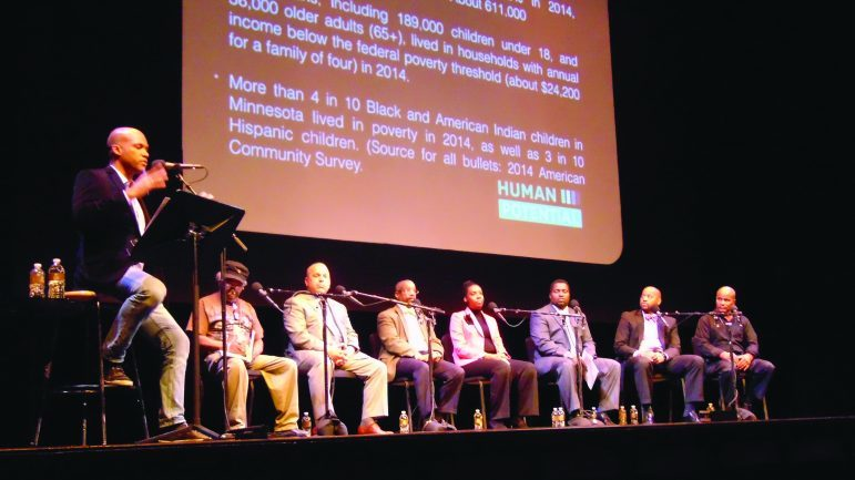 (l-r) Brandt Williams, Mahmoud El-Kati, Todd Axtell, Lyonel Norris, Taska Welters, Shakeer Abdullah, Michael Walker, and Melvin Carter, Jr.