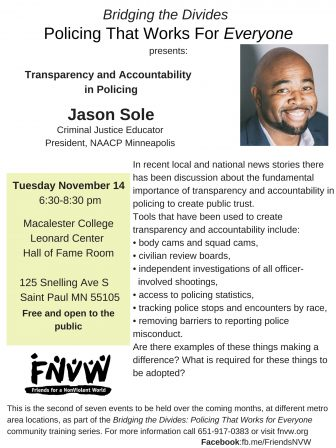 Bridging the Divides: Policing that Works for Everyone- Accountability and Transparency in Policing @ Macalester College, Leonard Center- Hall of Fame Room